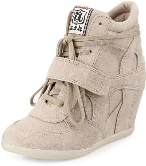 beige wedge sneakers beige suede wedge sneakers ash bowie suede wedge sneaker