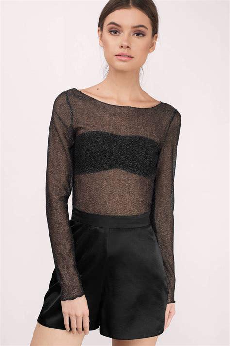 Sheer Top trendy black blouse black blouse sheer blouse black