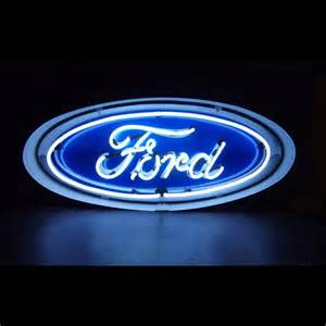 Barn Auto Parts Neon Sign Ford Oval In Metal Can