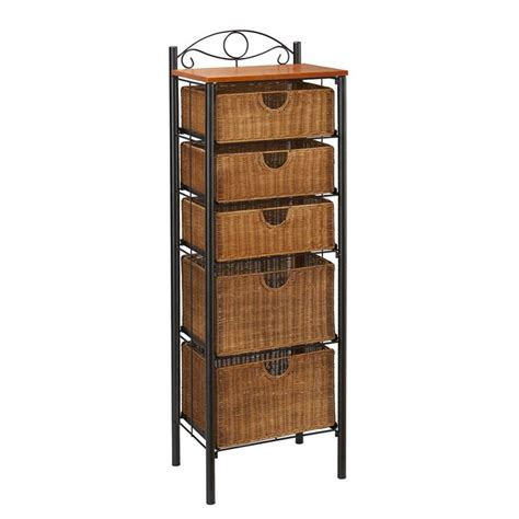 Rattan Drawer Storage Unit by Southern Enterprises 5 Drawer Iron Wicker Storage Unit