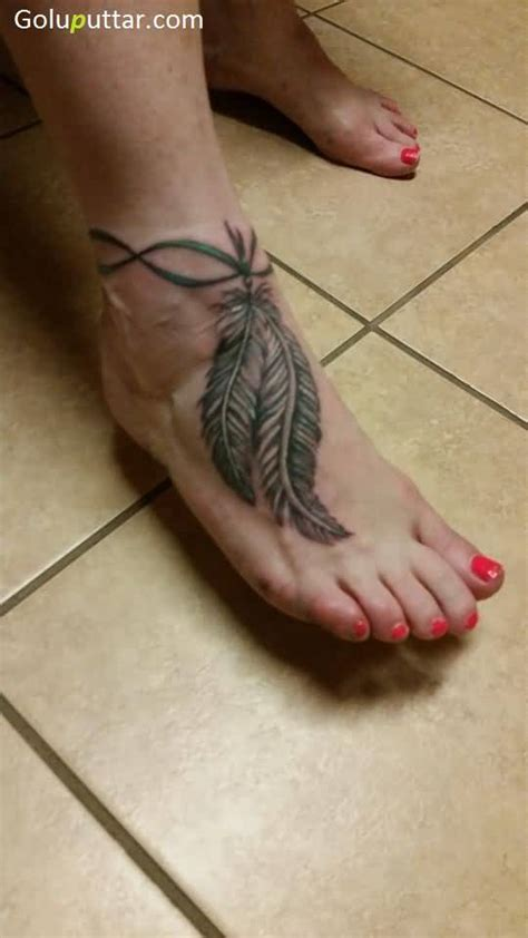 tattoo feather anklet feather ankle tattoos
