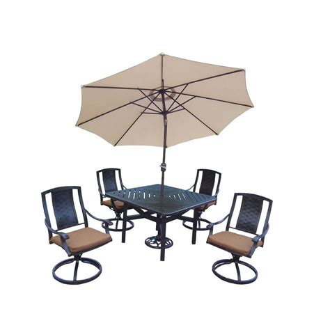 c chair with umbrella hton bay barnsdale teak 7 patio dining set set