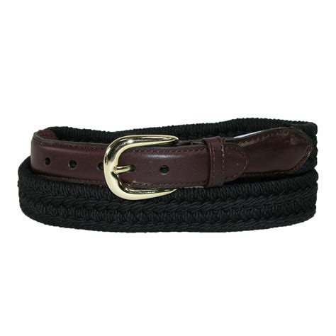 mens cotton with leather trim braided belt by rogers