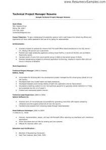 Manager Resume Objective Exles by Doc 714982 Information Technology It And Project Manager