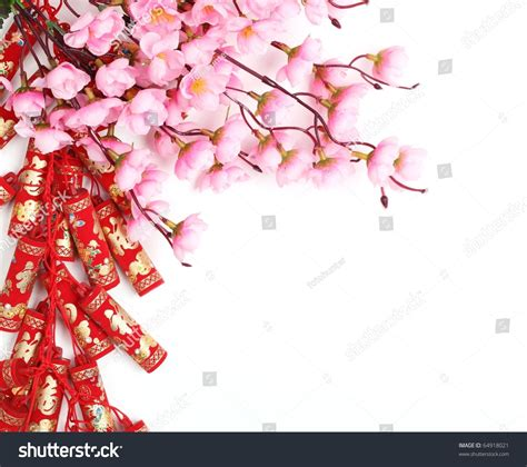 plum blossom tree new year new year ornamentfirecrackers plum blossom stock