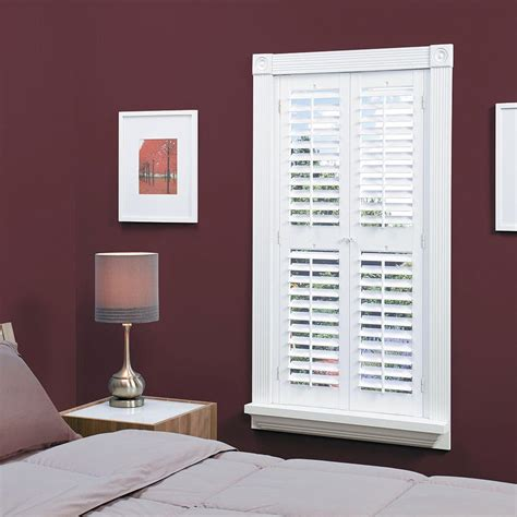 interior plantation shutters home depot homebasics plantation faux wood white interior shutter price varies by size qspa3148 the