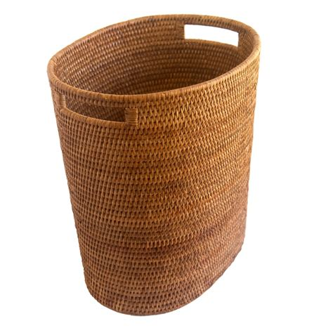 Paper Basket - oval waste paper basket with metal liner from myanmar