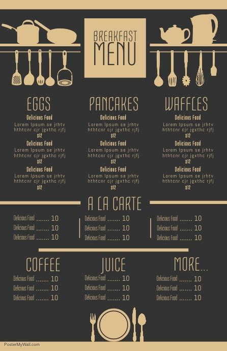 Customize 1 210 Menu Design Templates Postermywall Menu Poster Template Free