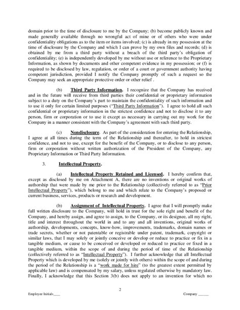 proprietary agreement template proprietary information and intellectual property