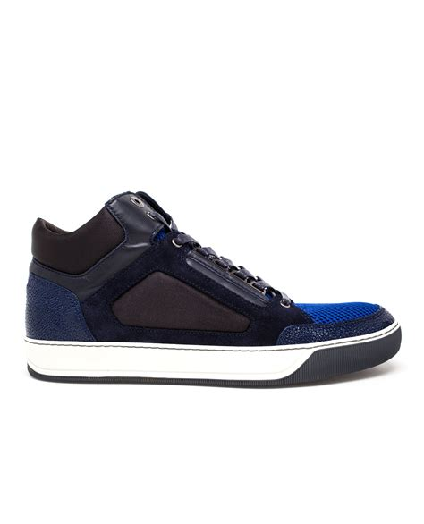 blue leather sneakers lyst lanvin suede and leather sneakers in blue