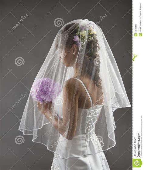 veil portrait wedding bridal hair style flowers bouquet stock image image of