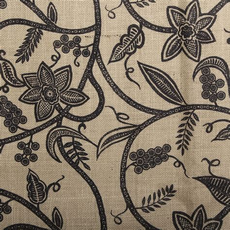 patterned hessian fabric printed floral swirl woven natural jute burlap hessian