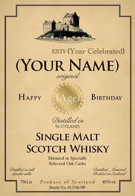 liquor label template birthday whiskey bottle label s 50th birthday