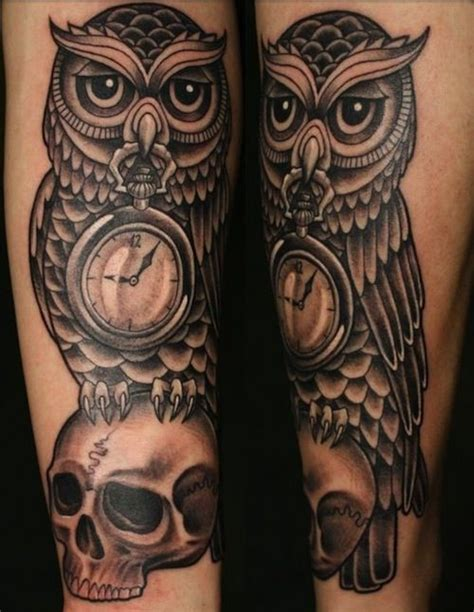 owl clock tattoo 17 best ideas about owl skull tattoos on owl