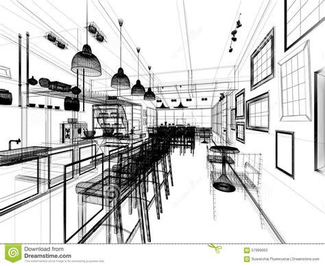 Luxury Sitting Room - sketch design of coffee shop stock illustration image 57999063