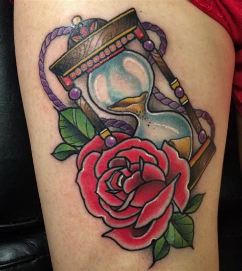 hourglass rose tattoo and hourglass by d mug tattoonow