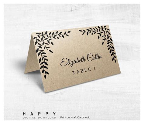 rustic place cards template rustic leaves place cards template happy digital