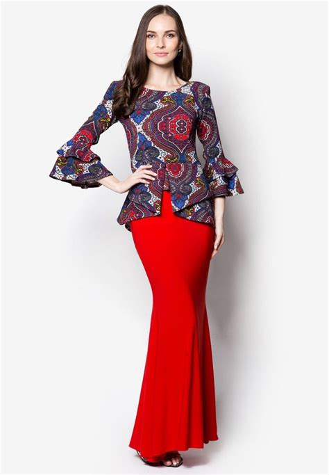 Set Baju Kebaya 4 In 1 peplum midi kebaya from zuco fashion in red 1