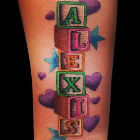 creative name tattoos name spelled with blocks nametat name