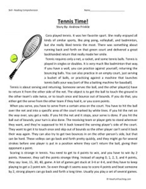 printable tennis quiz health and fitness reading comprehension worksheets