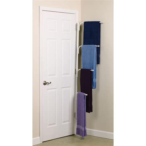 Towel Rack White hinge it clutterbuster family towel bar white
