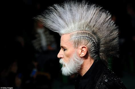 spartan hairstyle men ageing punks with grey mohawks rule at jean paul gaultier