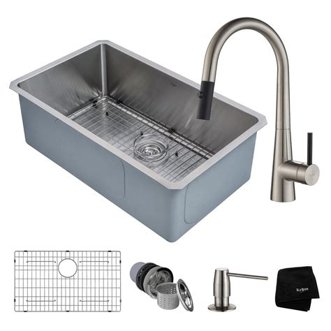 Kraus Undermount Kitchen Sink Kraus Handmade All In One Undermount Stainless Steel 30 In Single Bowl Kitchen Sink With Faucet