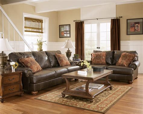 rustic livingroom furniture truffle color rustic living room with nailhead deatils by