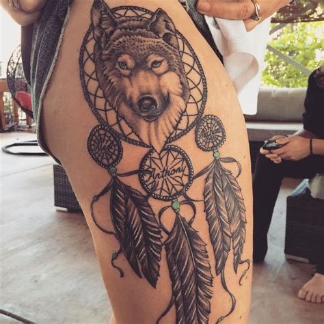 wolf and dreamcatcher tattoo wolf dreamcatcher me wolf