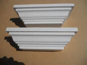 White Bookshelves With Crown Molding Crown Molding Wood White Wall Shelf Set Of Two Shelves