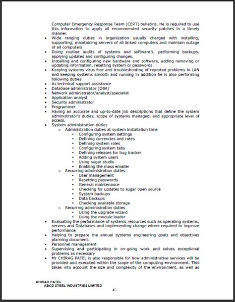 Work Experience Letter For Network Administrator Fresh And Free Resume Sles For Experience Certificate For System Administrator