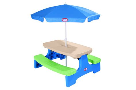 tikes easy store picnic table with blue umbrella tikes easy store picnic table with umbrella