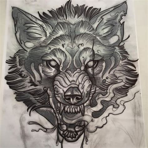 old school wolf tattoo beautiful sketch of a wolf growling i would want a
