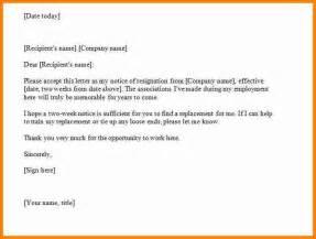 Formal Two Weeks Resignation Letter 9 Formal 2 Weeks Notice Budget Template