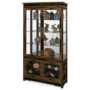 Black Lacquer Curio Cabinet Black Lacquer Soap Flower Motif Curio Cabinet
