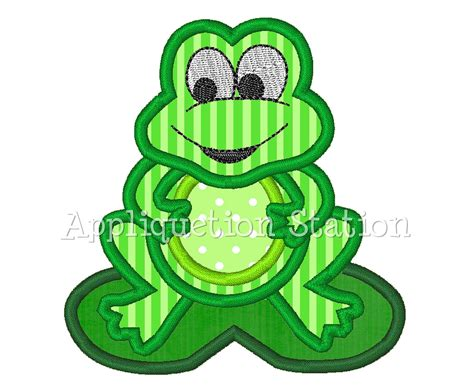 free applique downloads frog applique machine embroidery design lilypad boy green