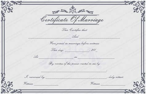 marriage license template dignified marriage certificate template