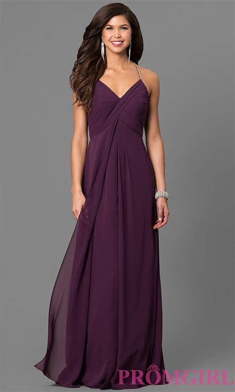 Eggplant Purple Chiffon Long Prom Dress   PromGirl