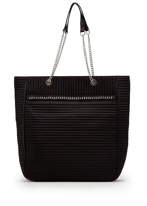 Mango Tote Chain Biocolor lyst mango touch quilted chain tote in black