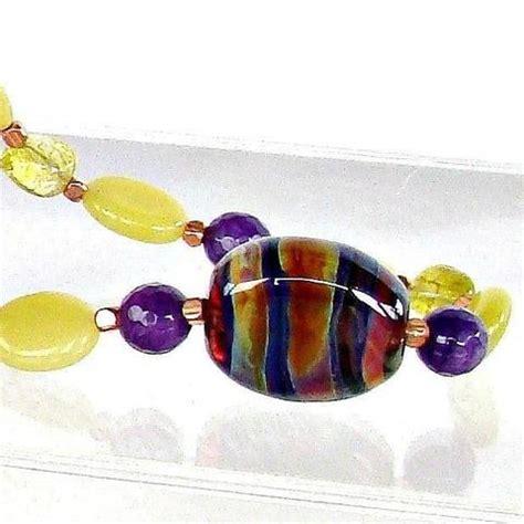 Alena Set Syari Purple glow 20 quot semi precious jewelry in orange earth and moon
