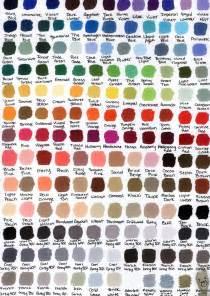 prismacolor marker color chart prismacolor color chart by katwynn on deviantart