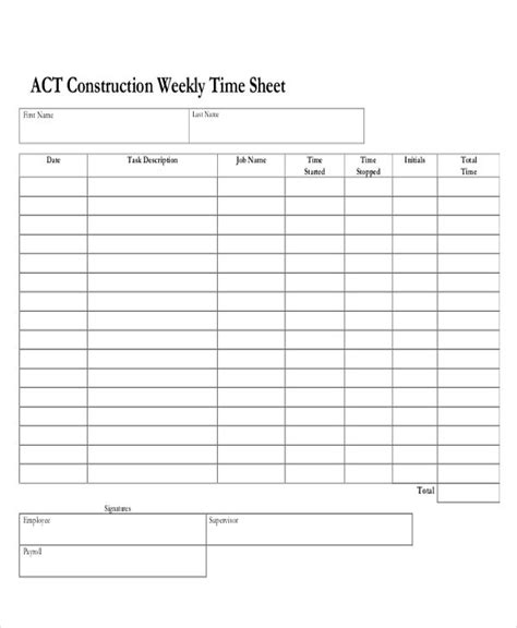 28 Printable Timesheet Templates Free Premium Templates Sheets Construction Template