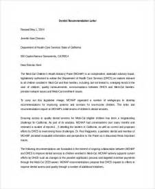 Recommendation Letter Dental School Sle Letter Of Recommendation 20 Free Documents In Word Pdf