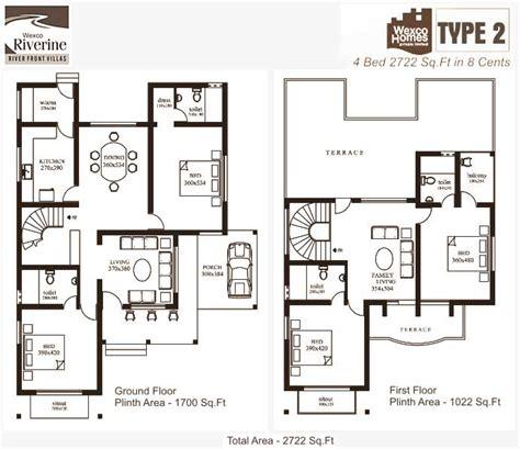 2 floor villa plan design wexco homes villas apartments in kottayam riverine