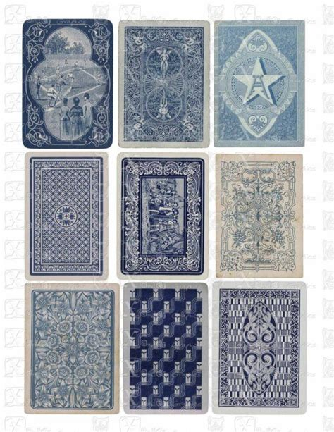 printable playing cards sheets vintage playing cards blue backs instant download 8 5