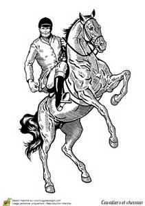 Coloriage Cavalier Et Chevaux Un Cheval Qui Se Cabre