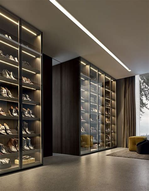 Shoe Closet With Doors Poliform Closet System Shoe Storage Shelving With Interior Cabinet Lighting And Glass Doors