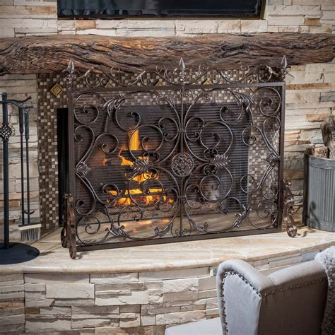 Screen Fireplace by Darcie Copper Brown Finish Wrought Iron Fireplace Screen