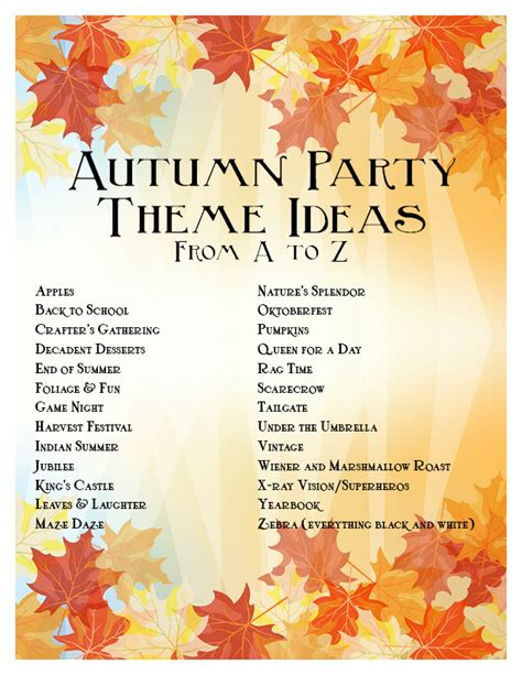 names themes com fall party ideas savvy entertaining