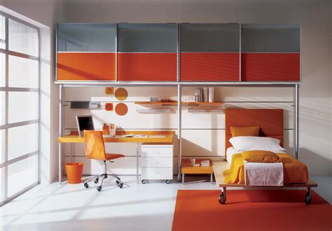 Interior Design For Kid Bedroom Grey And Orange Bedroom Interior Stylehomes Net